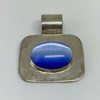 Vintage Sterling Silver 925 Mexico Blue Cats Eye Pendant