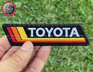 Vintage Stripes Tri Color Embroidered Patch with Iron Backing Fits on Toyota