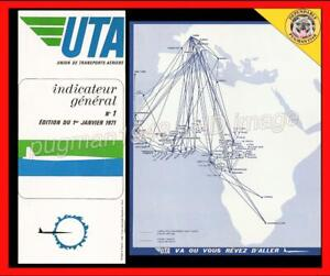 UTA AIRLINES FRANCE 1971 AIRLINE TIMETABLE SCHEDULE... Douglas DC-8 Worldwide