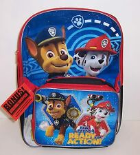 "PAW PATROL Large 16"" BACKPACK Detachable Insulated LUNCH BAG Tote 2-PC SET NEW!"