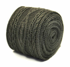 Frederick Thomas silver grey gray skinny cable knitted wool tie FT2214 RRP£20
