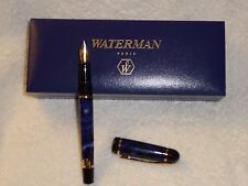 Waterman Fountain Pen Full Nib With Blue and White Original Case Paris Vintage