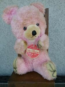 Vintage Pink Teddy - Star * Toys Japan - Squeaks when pressed down on head