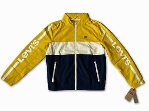 New Levi's Mens Long Sleeve Hooded (Woven) Zipped Yellow White Blue Jacket Large
