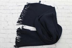Altea Unisex Navy Knit Fringe Scarf Shawl 100% Lana Wool Length 67 inch