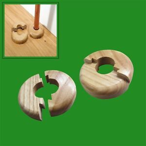 6x Varnished Oak Wooden Wood Radiator Pipe Collars for 15mm Pipe Easy Fit Covers