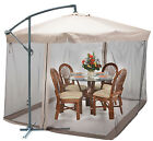 9X9 Offset Umbrella w/ Mesh Patio Offset Tilt Post Deck Gazebo Outdoor Shade Tan