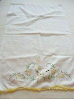 1 Vintage Pillow Case White with Hand Embroidery Religious Theme