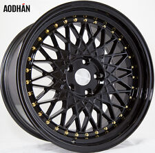 AODHAN AH05 18x9.5 5x114.3 +35 Full Black (Gold Rivet) (PAIR) wheels