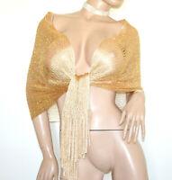 STOLA ORO RETE donna filo foulard dorato scialle frange coprispalle elegante G62