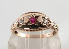 LUSH 9CT 9K ROSE GOLD INDIAN RUBY DIAMOND ART DECO INS GYPSY BOAT RING FREE Sz