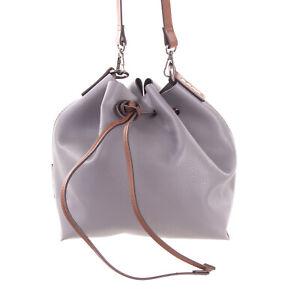 RRP €230 MANILA GRACE Crossbody Bucket Bag PU Leather Drawstring & Tie Closure