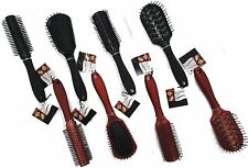 Plastic Tipped Bristle Hair Brush Choice of Red or Black Color and Shape