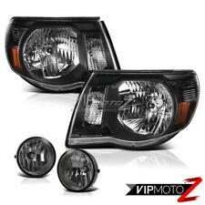 For 2005-2011 Toyota Tacoma X-Runner Clear/Black Headlights Dark Smoke Fog Light