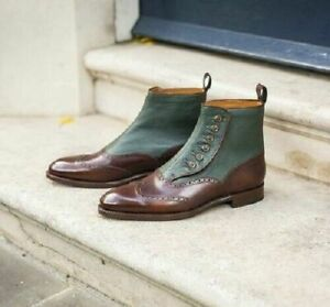 Handmade Button Boot brown and green leather boots,  ankle high boots for men