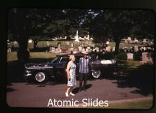 1967 photo slide    Man and Lady by  1950s Dodge Coronet car