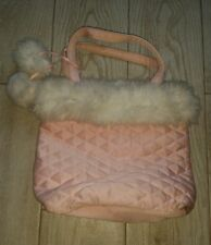 Pink Purse with white - quilted look/white puffballs/cute!