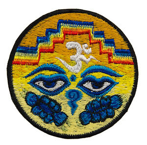 Embroidered Badge Eyes Of Buddha Lotus Yellow Shaman Hand Made Tibet Nepal 8572