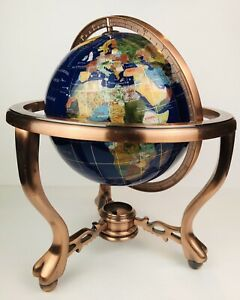 Tabletop Globe of Semi-precious Stones Lapis Copper Stand Claw Feet STUNNING