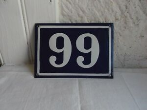 French blue & white house gate number  99  plate porcelain enamel solid