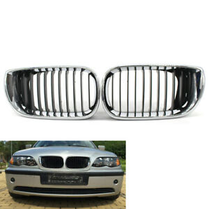 For BMW E46 Front Grille 02-05 3 Series 4 Door Gloss Kidney Style Half Silver