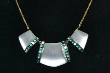 Part Cabochon Bib Necklace Silver White New! $295 Alexis Bittar Lucite Crystal 3