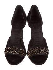 Size 8 / 38 Gucci Black Velvet Open Toe Embellished Pump Heel