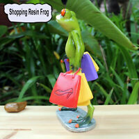 1pc Green Frog Collection Figurine Resin Female Frog Holding Shopping Bags