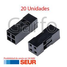 x20 Carcasa conector Dupont 2x2p 2.54mm plastico Negro Cable de Puente