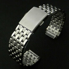 Silver 22mm Wrist Watch Band Strap Stainless Steel Mesh Buckle Folding Clasp