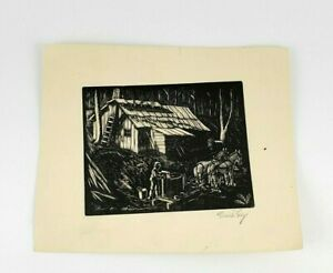 VTG 1930s 1940's Pencil Signed Etching/Plate Print Modernism Homestead Farm