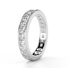 1.50 Carat Princess Diamond Full Eternity Ring, UK HallMarked 18k White Gold