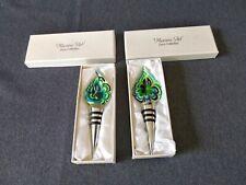 Murano Art Deco Collection Wine Bottle Stopper Teardrop Blues/Greens - Set of 2