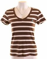 RALPH LAUREN Womens T-Shirt Top Size 14 Large Brown Striped Cotton  P016