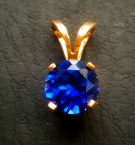 1.70ct Natural VS Blue Sapphire Solitaire 14K Solid Yellow Gold Pendant Necklace