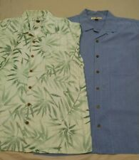 2 Tommy Bahama Men's Button down short sleeve silk shirts, size Large