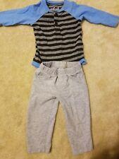 Carter's Jumping Beans Baby Boy 9 Months - 2Piece Set Striped Shirt Gray Pants
