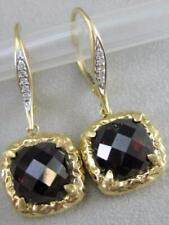 MODERN 8CTW DIAMOND CUSHION GARNET 14K Y GOLD HAMMERED HANGING EARRINGS ER7180DG