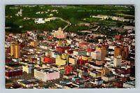San Diego CA, Aerial View, Linen California Postcard