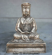 """8"""" Old Tibet Buddhism Temple Silver Je Tsongkhapa Buddha Master Statue Sculpture"""