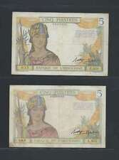 INDOCHINE  Lot de 3 billets  de 5 PIASTRES LOT N° 1