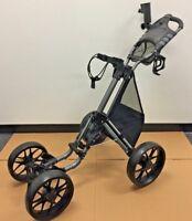 Black Caddytek One-Click 4-Wheel Golf Push Cart with Bonus Mesh Net Basket