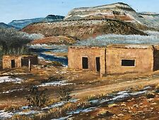 Adobes in NM High Desert, by Waugh, 1975, Original Signed Oil, Rustic Frame