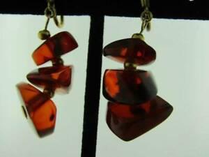 12K Gold Filled Amber Drop Chandelier Earrings  051821