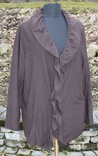Style by Avenue Sz 22 24 Plus Chestnut Brown Ruffled Top Shirt Button Womens