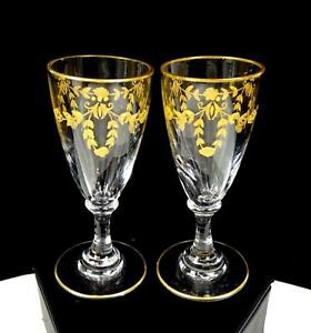 """TIFFIN GLASS CLEAR GILDED FLORAL SWAG AND TRIM 2 PC 3 1/8"""" CORDIALS"""
