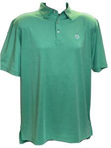 Peter Millar Summer Comfort Golf Polo Men's Large Polyester Spandex Green Shirt