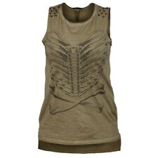 Khaki Green 100% Cotton Skeleton Ribs Punk Rock Sleeveless Long Top Studs 8 10