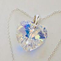 925 Sterling Silver Swarovski Elements Crystal AB 18mm Heart Necklace Pendant