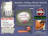 Outdoor Mini SS Folding Wood Stove-Camping,Hiking, Survival, Emergencies